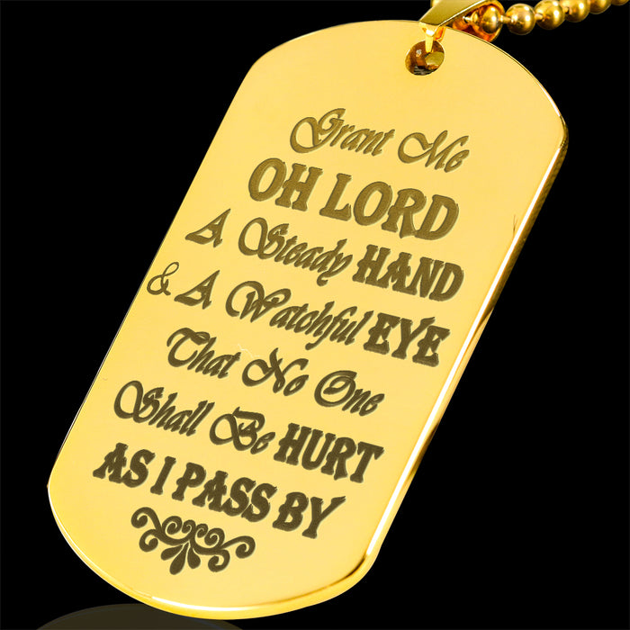 Drivers Prayer Engraved Gold Dog Tag / Military Necklace