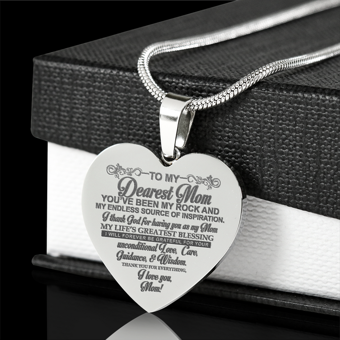 Dearest Mom Engraved Steel Heart Necklace