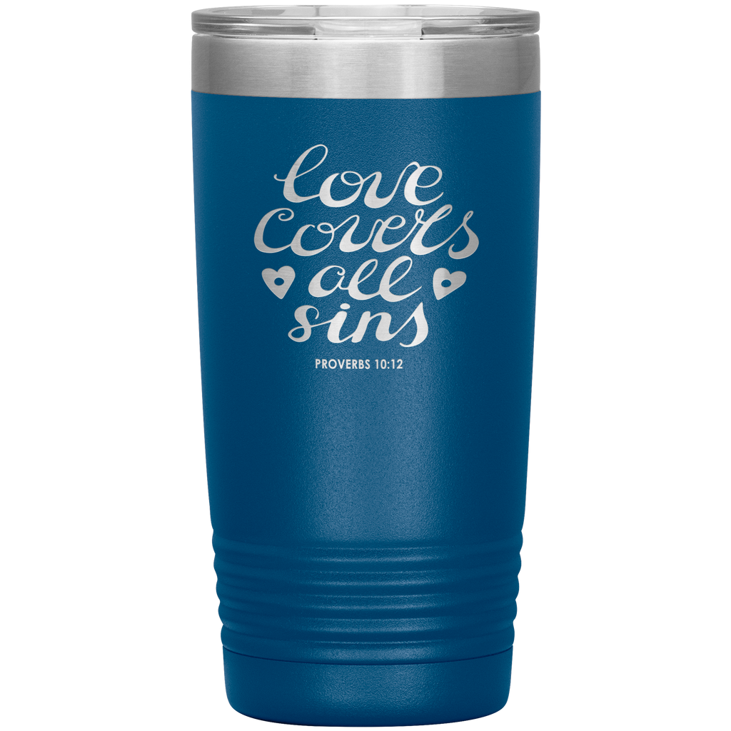 Love Covers All Sins 20 oz Vacuum Tumbler - Laser Etched Travel Mug Ideal Gift for Christian Friends & Church Members