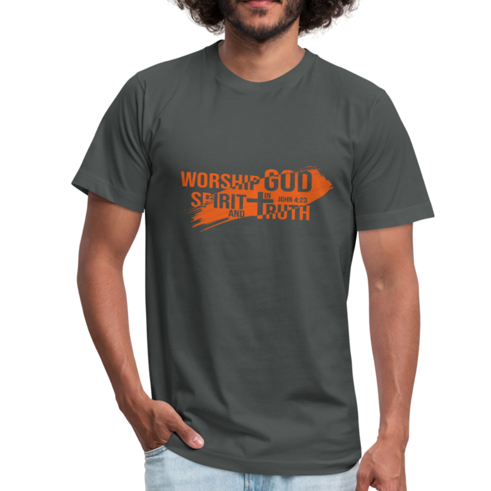 Worship God In Spirit & In Truth Men's Tees - asphalt