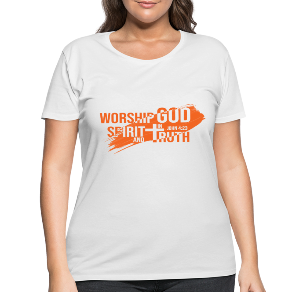 Worship God In Spirit & In Truth Women's Curvy T-Shirt - white