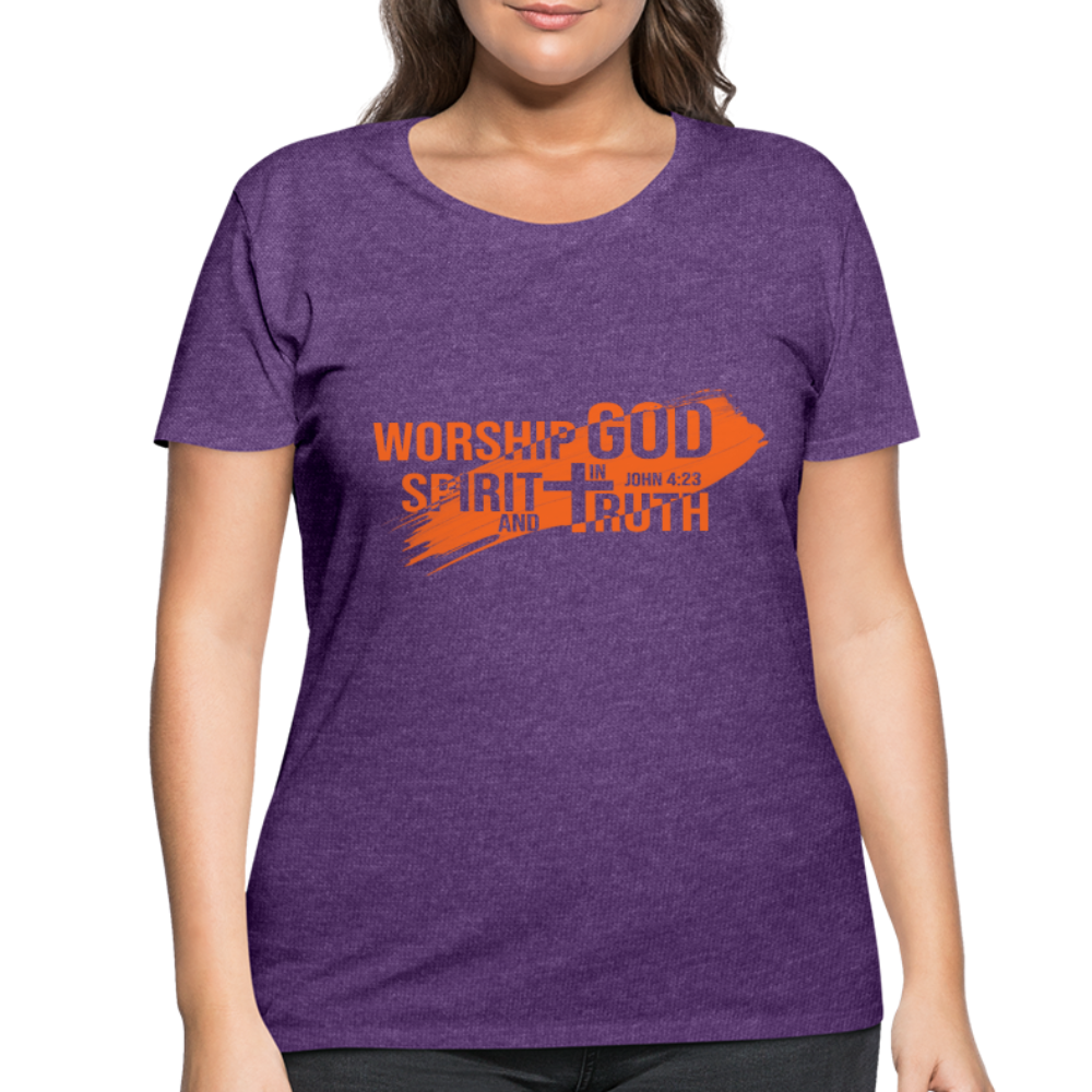 Worship God In Spirit & In Truth Women's Curvy T-Shirt - heather purple