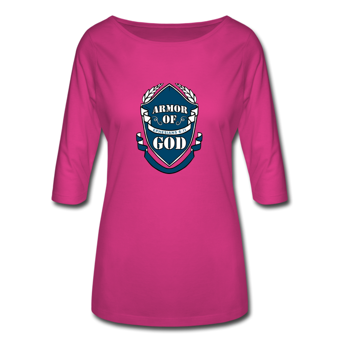 Armor Of God Women's 3/4 Sleeve Shirt - fuchsia