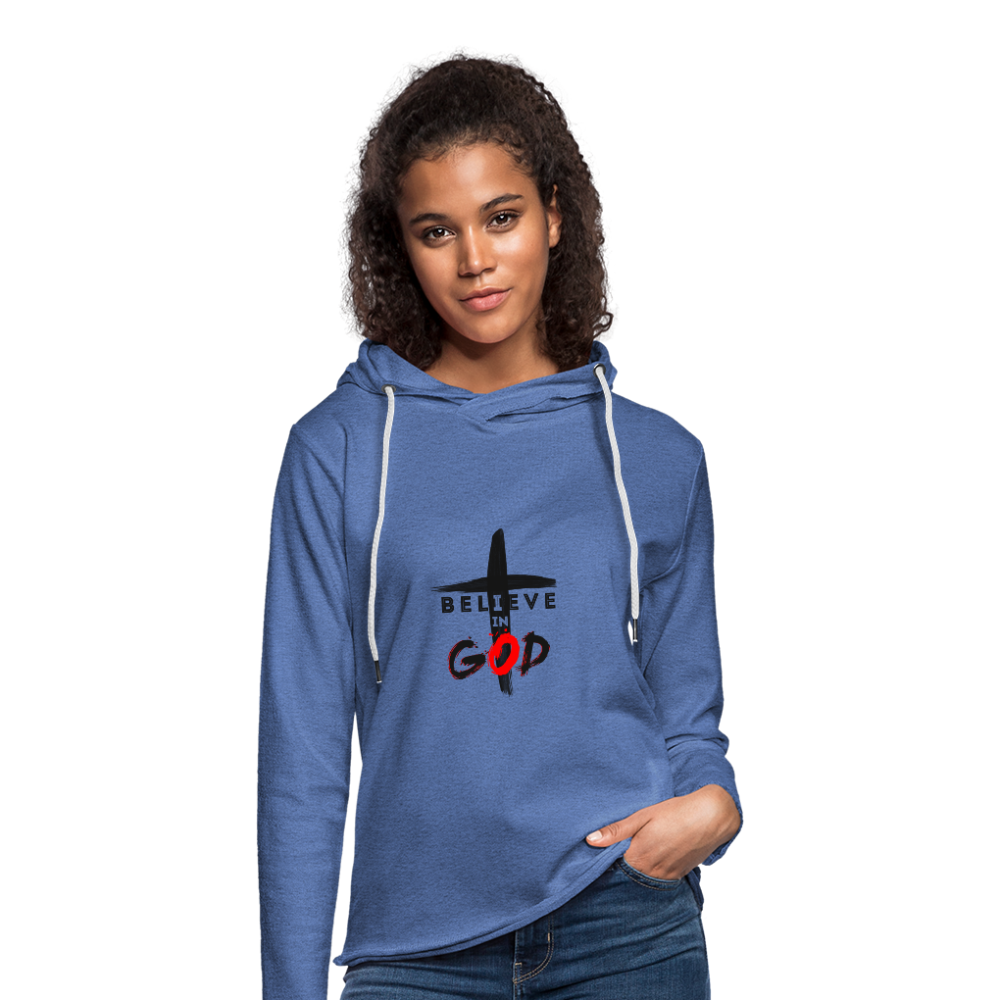 I Believe Lightweight Terry Hoodie - heather Blue