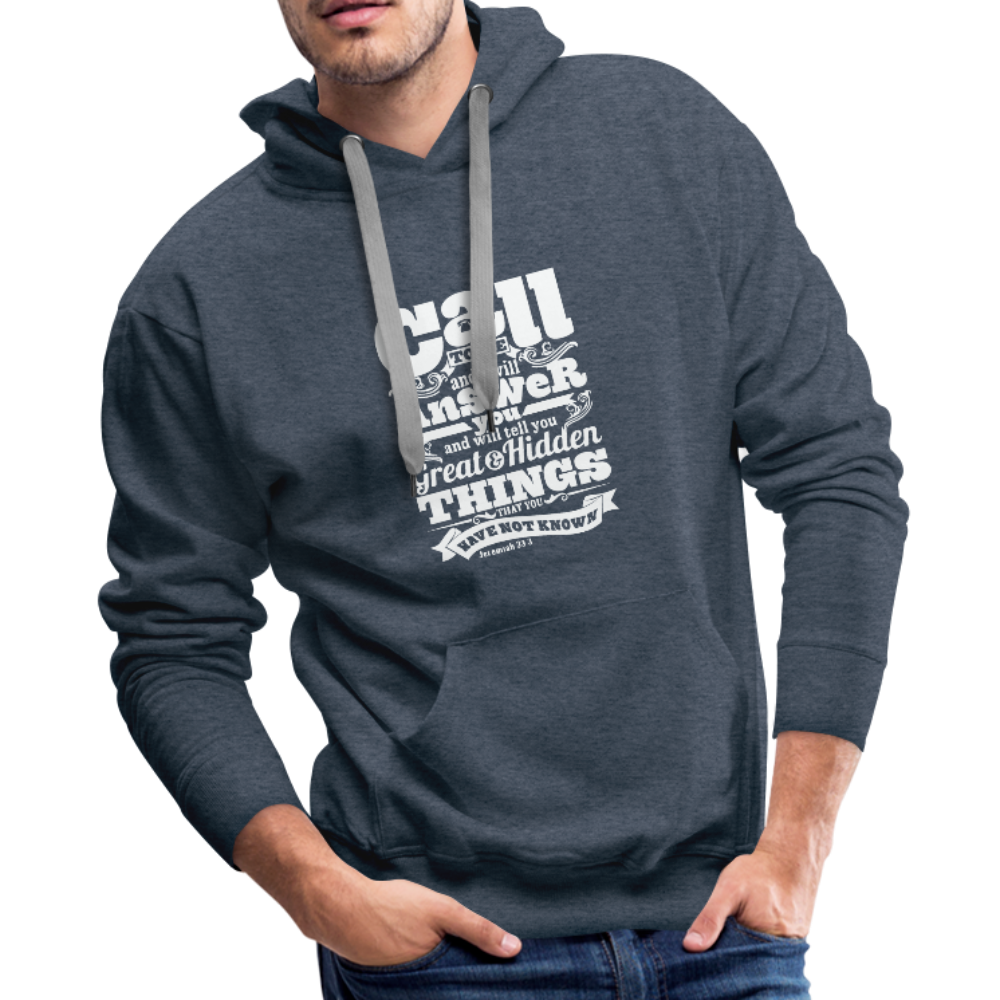 Christian Men's Hoodie (Call) - heather denim