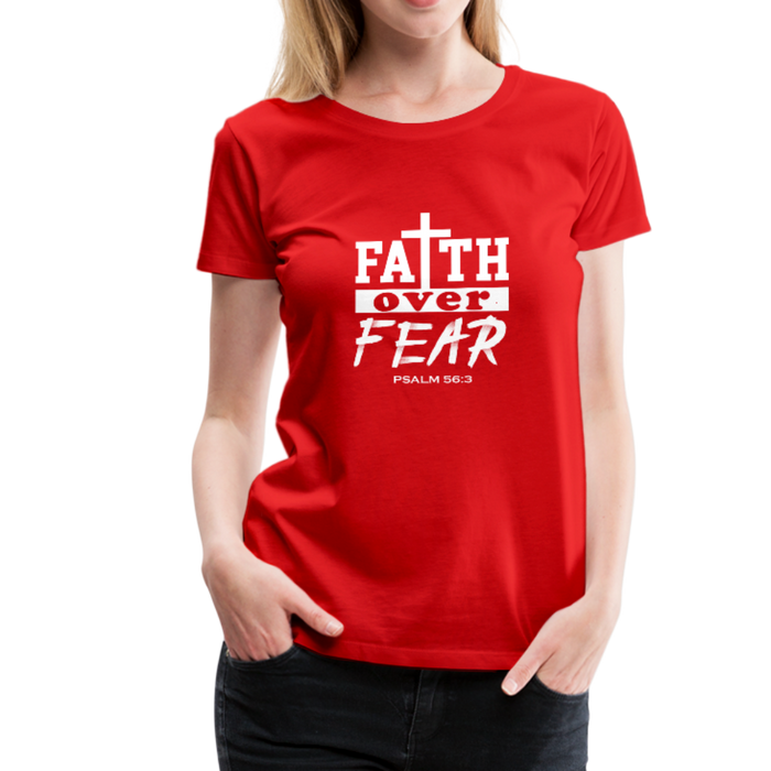 Christian Women's Shirt (Faith Over Fear) - red