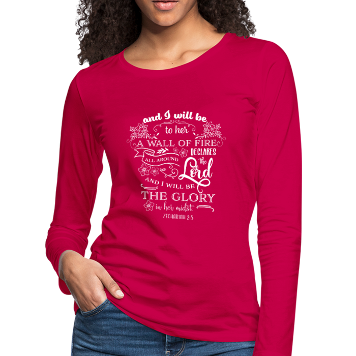 Christian Women Long Sleeve Tees (Zechariah 2:5, A Wall Of Fire) - dark pink