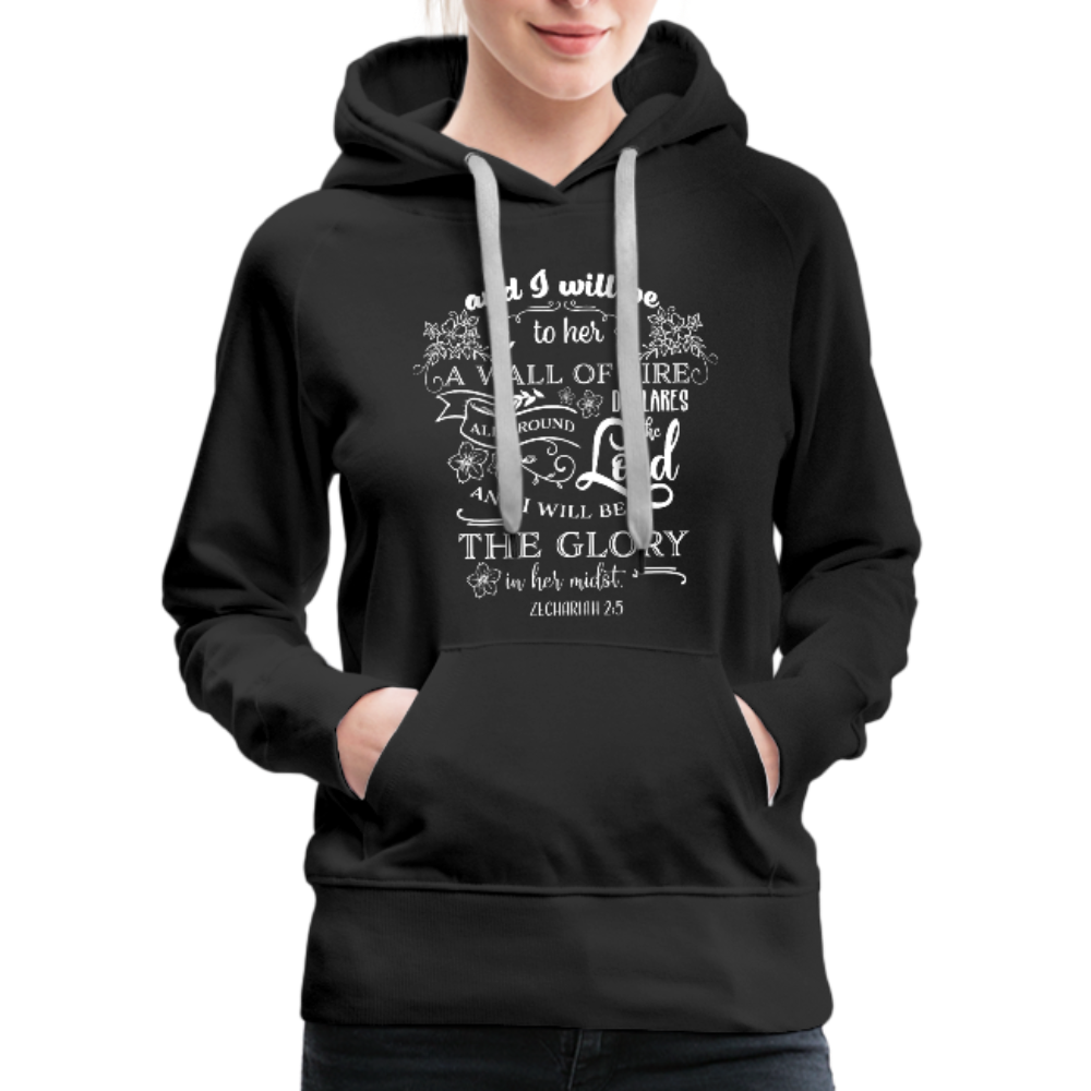 Christian Women's Hoodie (Zechariah 2:5, A Wall of Fire) - black