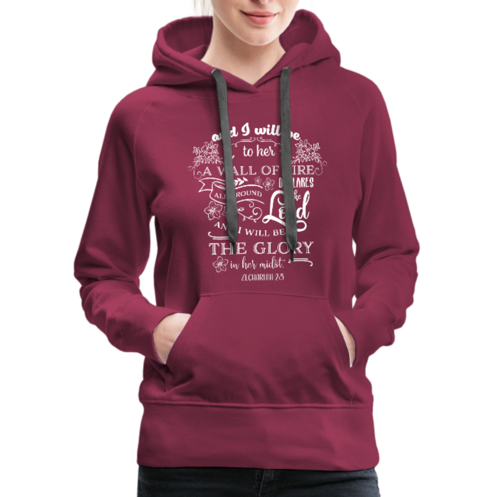 Christian Women's Hoodie (Zechariah 2:5, A Wall of Fire) - burgundy