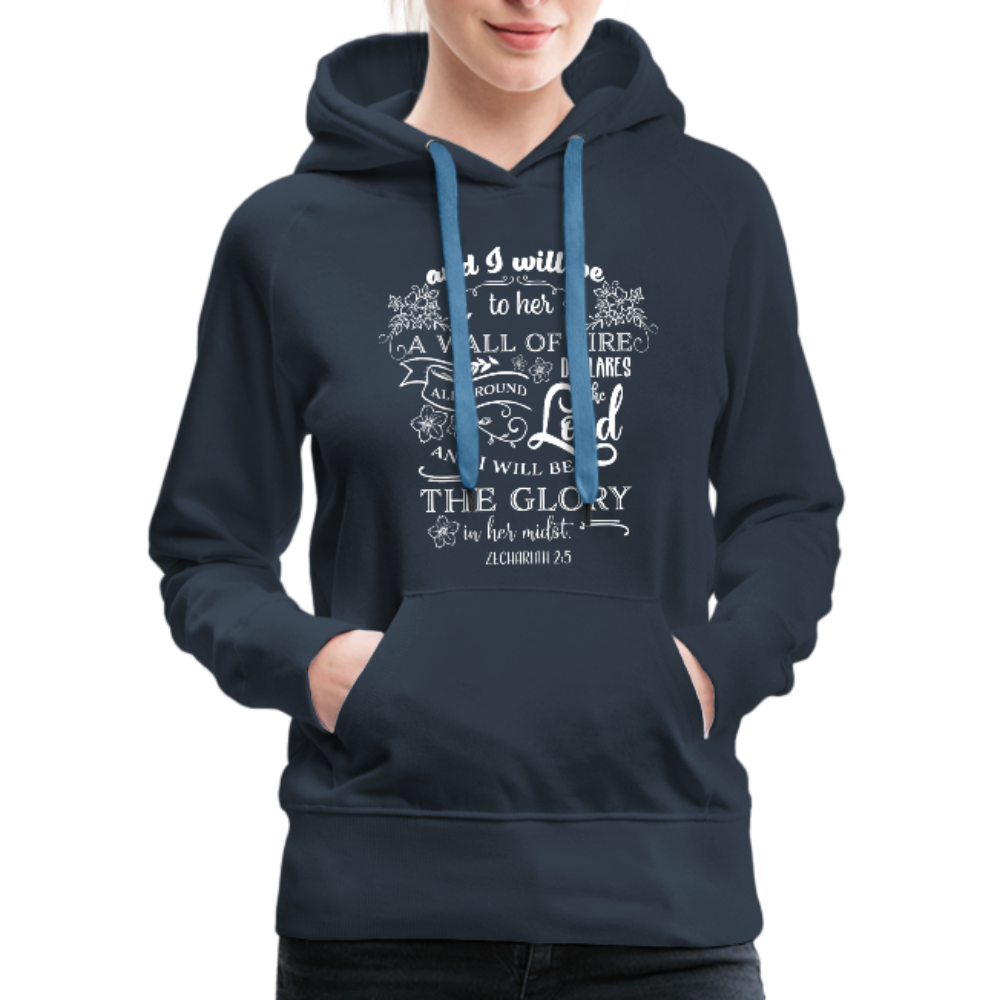 Christian Women's Hoodie (Zechariah 2:5, A Wall of Fire) - navy