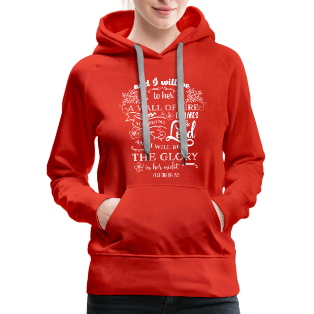 Christian Women's Hoodie (Zechariah 2:5, A Wall of Fire) - red