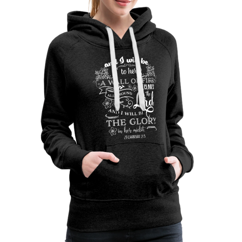 Christian Women's Hoodie (Zechariah 2:5, A Wall of Fire) - charcoal gray