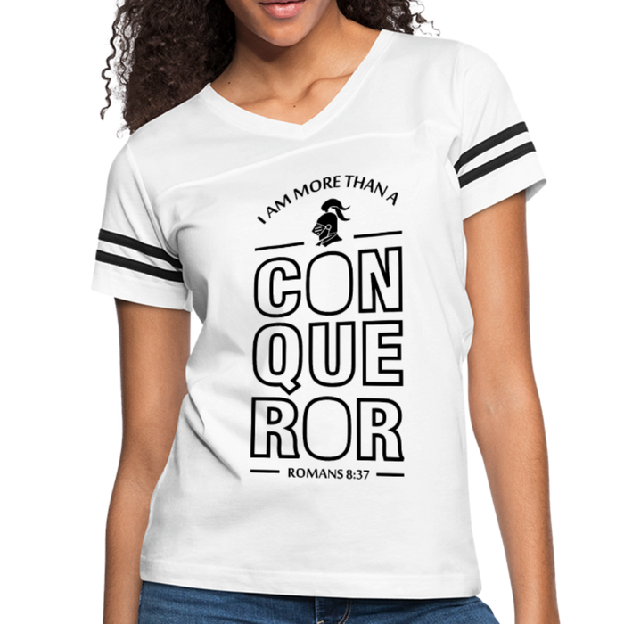 Christian Women's Vintage Sport Tees (Romans 8:37, I Am More Than A Conqueror) - white/black