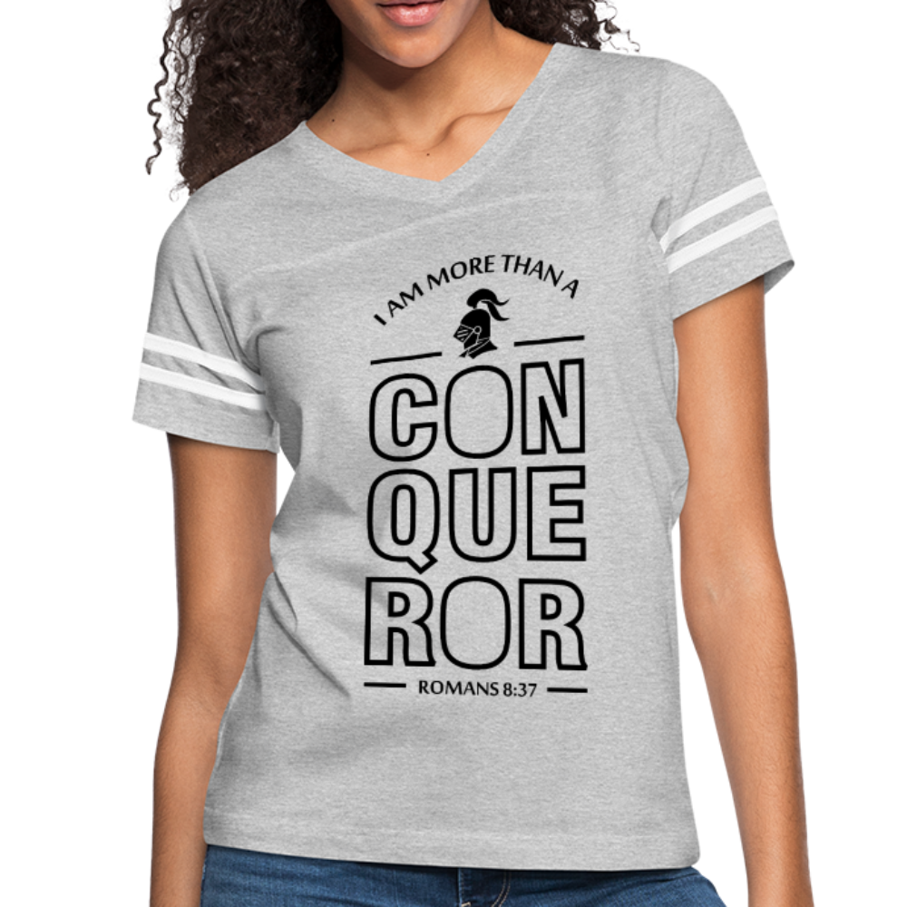 Christian Women's Vintage Sport Tees (Romans 8:37, I Am More Than A Conqueror) - heather gray/white