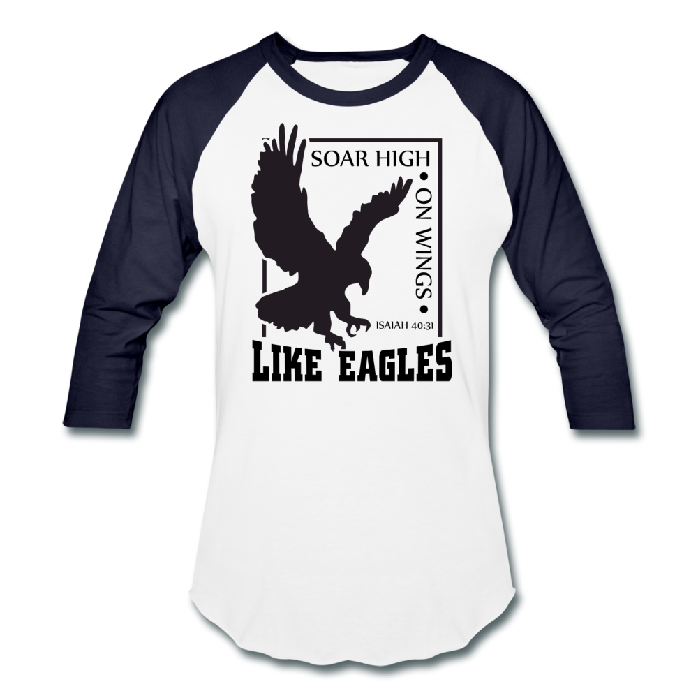 Christian Men's Baseball Shirt (Isaiah 40:31, Soar High On Wings Like Eagles) - white/navy