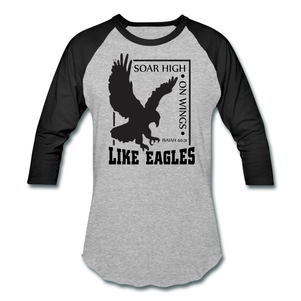 Christian Men's Baseball Shirt (Isaiah 40:31, Soar High On Wings Like Eagles) - heather gray/black