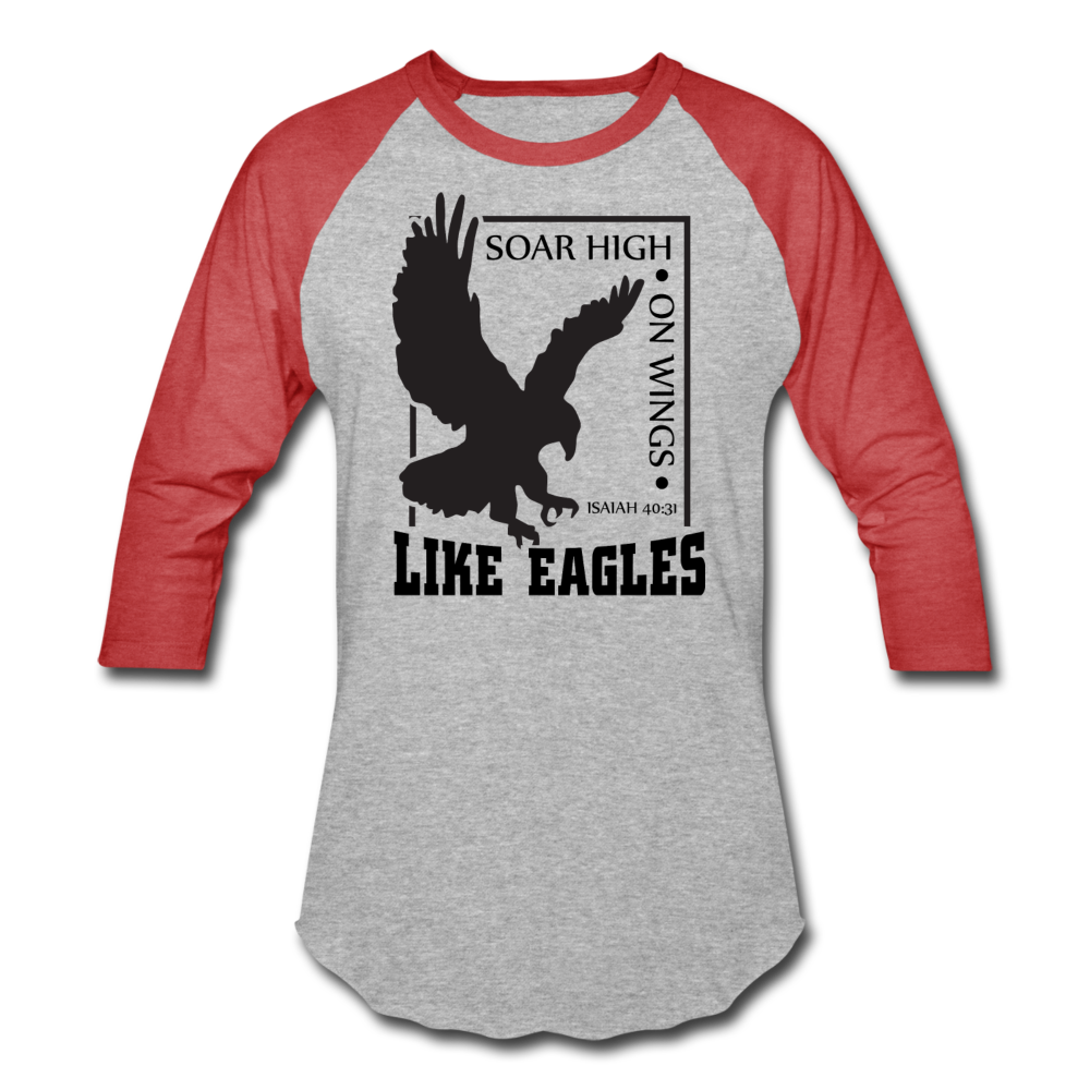 Christian Men's Baseball Shirt (Isaiah 40:31, Soar High On Wings Like Eagles) - heather gray/red