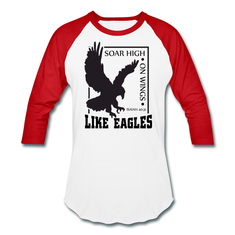 Christian Men's Baseball Shirt (Isaiah 40:31, Soar High On Wings Like Eagles) - white/red
