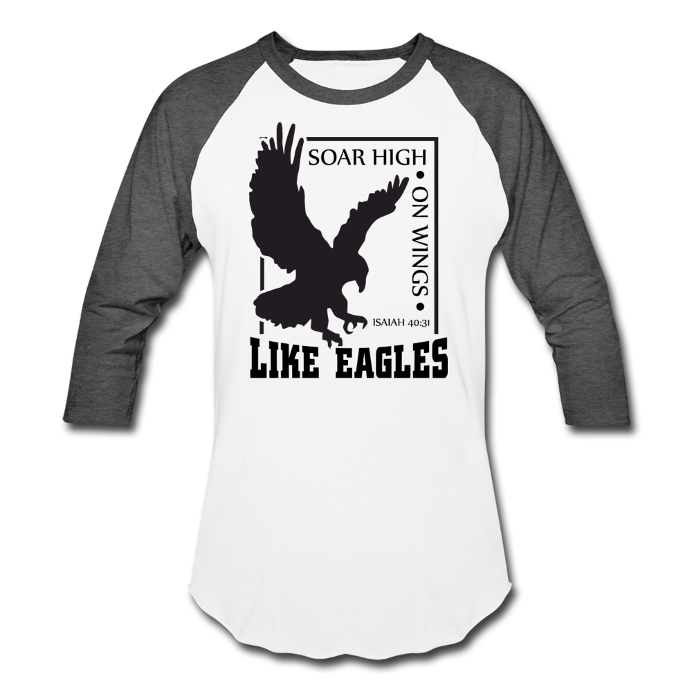 Christian Men's Baseball Shirt (Isaiah 40:31, Soar High On Wings Like Eagles) - white/charcoal