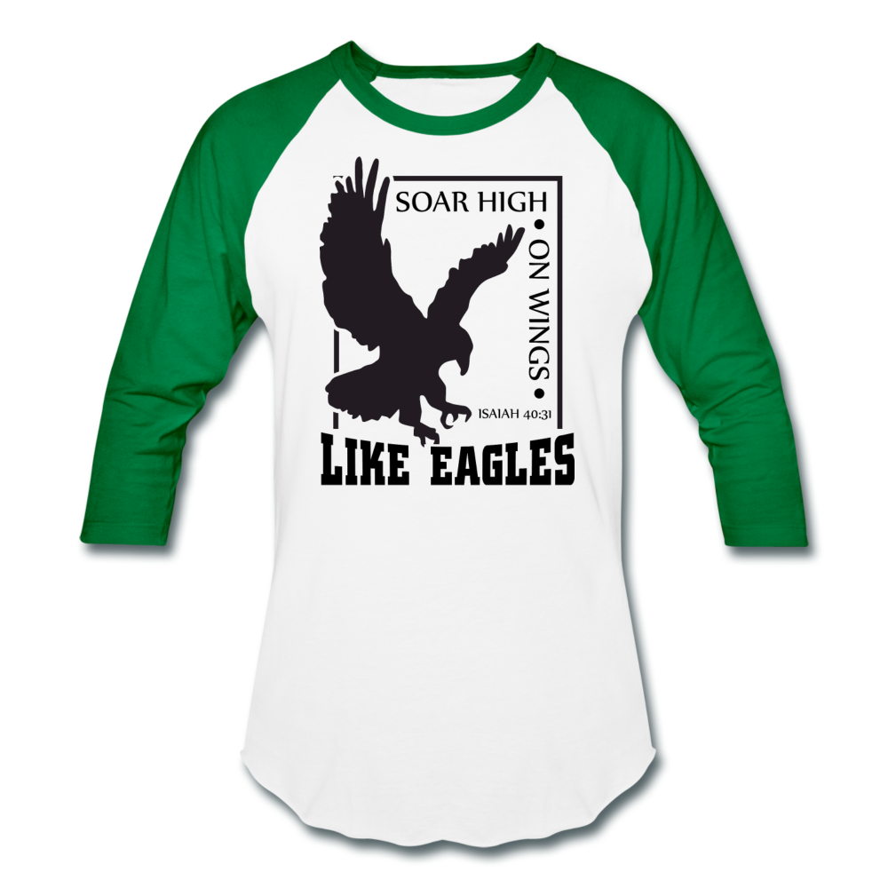 Christian Men's Baseball Shirt (Isaiah 40:31, Soar High On Wings Like Eagles) - white/kelly green