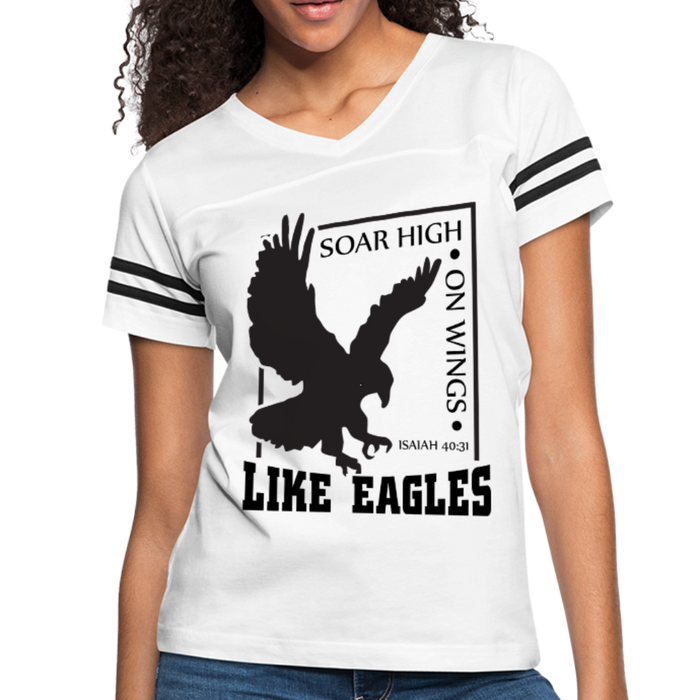Christian Women's Vintage Sport Tees (Isaiah 40:31, Soar High On Wings Like Eagles) - white/black