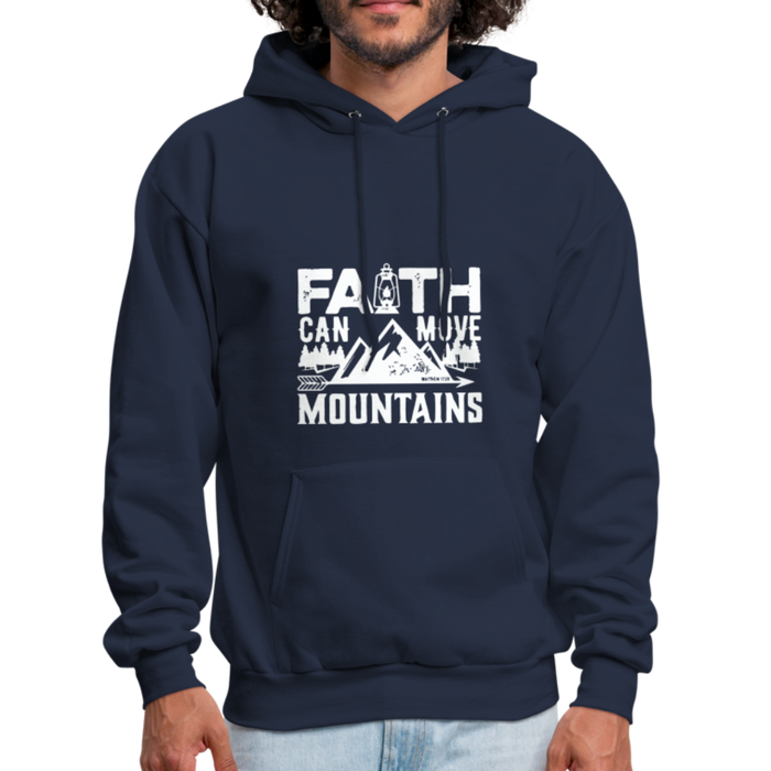 Faith Can Move Mountain Men's Hoodie - Christian Hooded Sweatshirt - navy