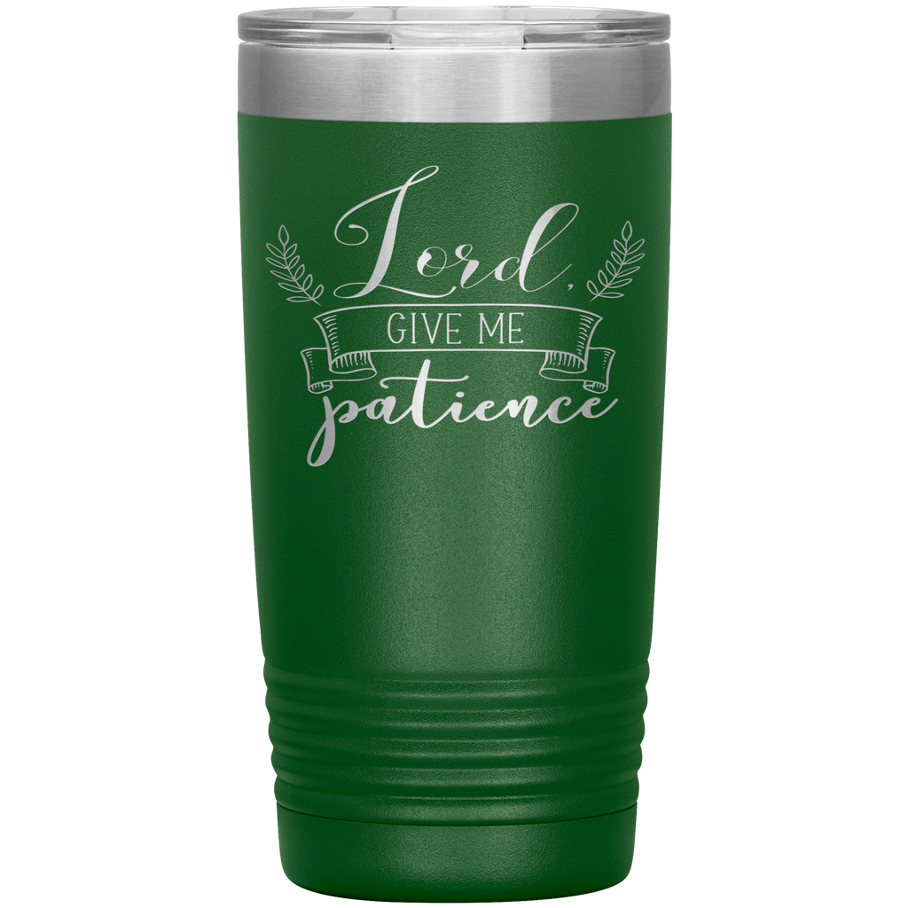 Christian Tumbler 20oz (Lord Give Me Patience) - Scripture Travel Mug Perfect Gift for Christian Friends and Church Members