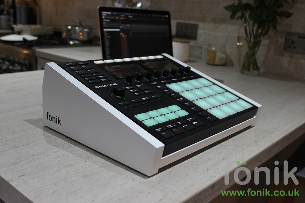 White Fonik audio stand for NI Maschine MK3 music production