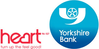 yorkshire bank and heart radio logos