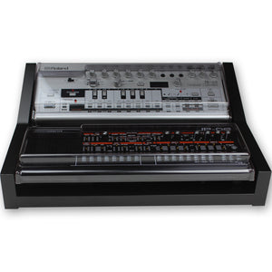 black fonik stand for 2 roland boutique shown with decksaver covers