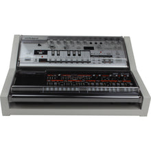 Load image into Gallery viewer, grey fonik stand for 2 roland boutique shown with decksaver covers