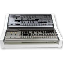 Load image into Gallery viewer, white fonik stand for 2 roland boutique shown with decksaver covers