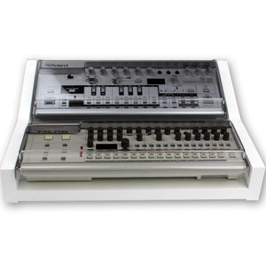 white fonik stand for 2 roland boutique shown with decksaver covers
