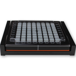 black fonik stand for novation launchpad pro shown with decksaver cover