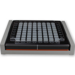 grey fonik stand for novation launchpad pro shown with decksaver cover