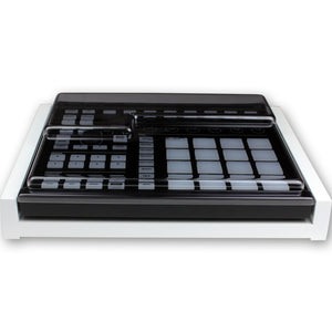 white fonik stand for ni maschine mk2 shown with decksaver cover
