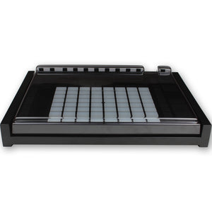 black fonik stand for ableton push 2 shown with decksaver cover