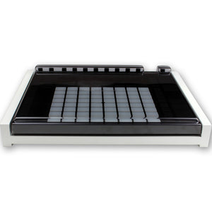 white fonik stand for ableton push 2 shown with decksaver cover