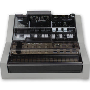 grey fonik stand for 2 korg volca shown with decksaver covers