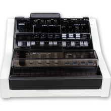 Load image into Gallery viewer, white fonik stand for 2 korg volca shown with decksaver covers