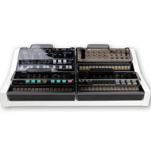 white fonik stand for 4 korg volca shown with decksaver covers