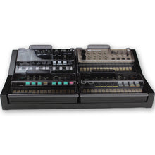 Load image into Gallery viewer, black fonik stand for 4 korg volca shown with decksaver covers