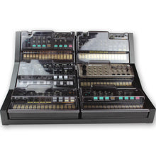 Load image into Gallery viewer, black fonik stand for 6 korg volca shown with decksaver covers