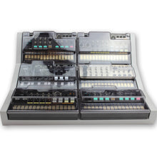 Load image into Gallery viewer, grey fonik stand for 6 korg volca shown with decksaver covers