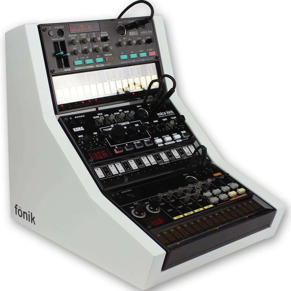 fonik stand for 3 korg volca in white