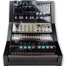 Load image into Gallery viewer, black fonik stand for 3 korg volca shown with decksaver covers