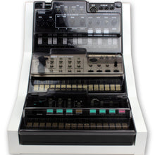 Load image into Gallery viewer, white fonik stand for 3 korg volca shown with decksaver covers