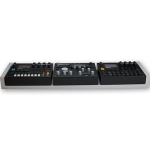 grey fonik stand for 2 elektron digitakt or digitone with analog heat front view
