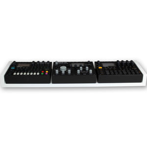 white fonik stand for 2 elektron digitakt or digitone with analog heat front view