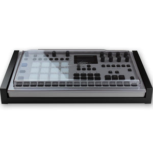 black fonik stand for elektron analog rytm mk2 shown with decksaver cover